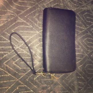 Black and gold zip wallet